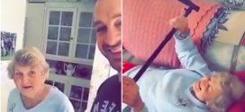 Ilyen az, amikor egy lelkes fiatalember segíti a szomszéd nénit edzés közben – Videó