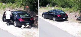 A megfigyelő kamera felveszi, ahogyan egy férfi kirakja a kutyáját. A rendőrségnek nem volt nehéz megtalálni a férfit!